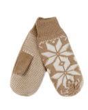 Beige knitted mittens. Stock Image