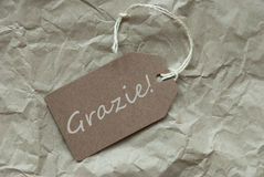Beige Label With Italian Grazie Means Thank You Stock Images