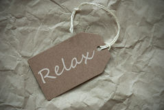 Beige Label With Relax Paper Background Stock Photos