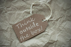 Beige Label Think Outside The Box Background Stock Photography