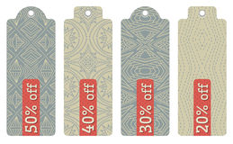 Beige labels with sale offer, vector stock image