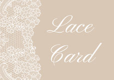 Beige lace border card. Template of card with white lace border on beige background Royalty Free Stock Photos