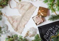 Beige lace bra on the white Christmas background. Fashion access Stock Photo