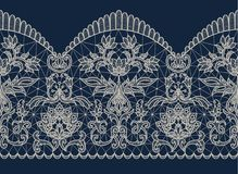 Beige lace ribbon. Horizontally seamless dark blue background and beige lace ribbon with floral pattern Stock Image