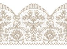 Beige lace ribbon. Horizontally seamless white background and beige lace ribbon with floral pattern Royalty Free Stock Photography