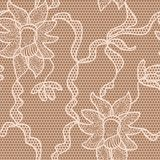Beige lace vector fabric seamless pattern. Beige lace vector fabric seamless  pattern with orchids Royalty Free Stock Photo