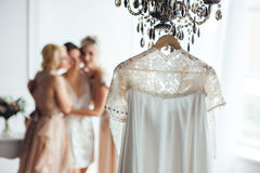 Beige lace vintage wedding dress Royalty Free Stock Photo