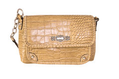 Beige ladies purse,isolated Stock Photos