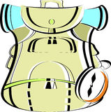 Beige large rucksack with a compass. Travel backpack for Hiking in vector Royalty Free Stock Photos