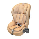 Beige leather baby auto car seat isolated Stock Photo