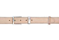 Beige leather belt. With metal buckle isolated on a white background Stock Photography