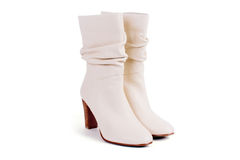 Beige leather boots Stock Image