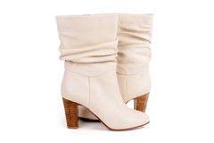 Beige leather boots Royalty Free Stock Photography