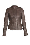 Beige leather jacket. Photo of an isolated leather jacket Royalty Free Stock Photo