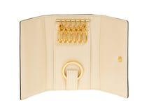 Beige leather key holder Royalty Free Stock Photo