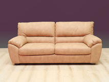 Beige leather sofa Stock Images