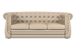 Beige leather sofa isolated over white 3d Royalty Free Stock Photo