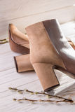 Beige leather womens shoes Stock Photo