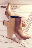Beige leather womens shoes Royalty Free Stock Images
