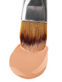 Beige liquid foundation makeup stroke with brush Stock Photography