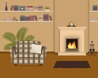 Beige living room with fireplace and checkered armchair. The room also has a shelves with books and home decor, a mantel clock and big flower. Vector Royalty Free Stock Photography