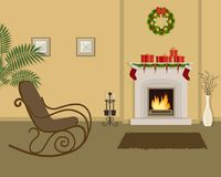 Beige living room with fireplace, decorated with Christmas decorations. The room also has a rocking chair, a vase with decorative branches and pictures on the Stock Images