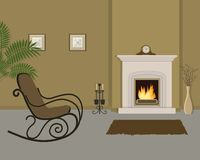 Beige living room with fireplace and rocking chair. The room also has a vase with decorative branches, mantel clock and pictures on the wall. Vector royalty free illustration