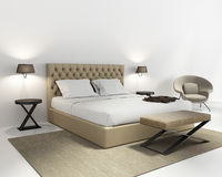 Beige luxury bedroom with rug. Beige luxury bedroom with contemporary rug Royalty Free Stock Photo