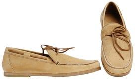 Beige männliche Schuhe Stockfotos