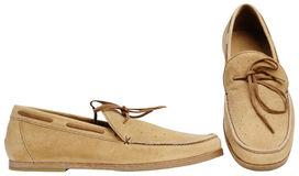Beige male shoes Stock Photos