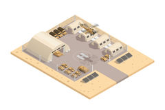 Beige Military Isometric Composition. Beige color military isometric composition with with helipad and parking guarded area vector illustration Stock Photography
