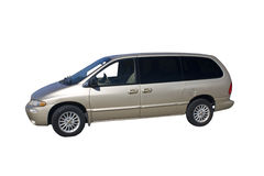 Beige mini van stock photo