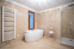 Beige minimalist bathroom interior Royalty Free Stock Photo
