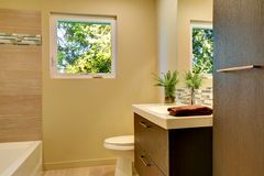 Beige modern new bathroom with brown wood cabinets and tub. Royalty Free Stock Photo