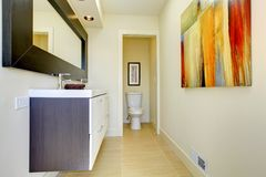Beige modern new luxury bathroom. Royalty Free Stock Images