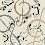 Beige musical background with black notes. vector illustration
