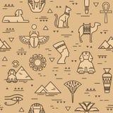 Beige naadloos patroon van symbolen, oriëntatiepunten, en tekens van Egypte van pictogrammen in een lijnstijl vector illustratie