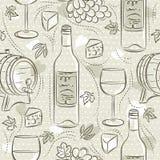 Beige naadloze patronen met rode wijnreeks, vat, vat, wijnglas, druif en kaas Ideaal voor druk op stof en document of stock fotografie