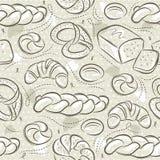 Beige naadloze patronen met verschillende broden, Pasen-brood, pretzel, bap en croissant Ideaal voor druk op stof en document royalty-vrije stock afbeelding