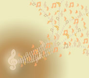 Music beige notes and clef. Royalty Free Stock Photo