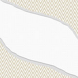Beige och vit sparresicksackram med sönderriven bakgrund Royaltyfri Bild