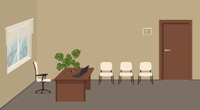Beige office room. Director`s office. Secretary`s workplace stock illustration