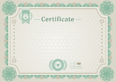 Beige official certificate. Guilloche border. Green design elements. Stock Image