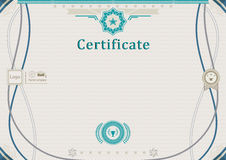 Beige official certificate. Guilloche turqoise border. Green design elements. Royalty Free Stock Images