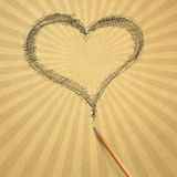 Beige old paper with heart. Vintage aged beige old paper with sketch pencil heart Royalty Free Stock Photo