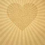 Beige old paper with heart. Vintage aged beige old paper with pattern heart Stock Photo