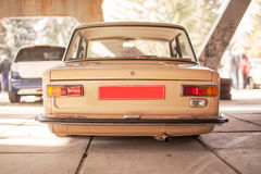 Beige old russian restored car, back view Stock Photography