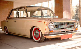 Beige old russian restored car Royalty Free Stock Photo