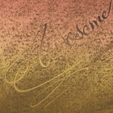 Beige old rusty Patches Artwork. Embossed Calligraphy with powder color scattered on background. stock photography