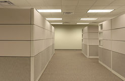 Beige open generic Office Cubical workspace  Royalty Free Stock Photography